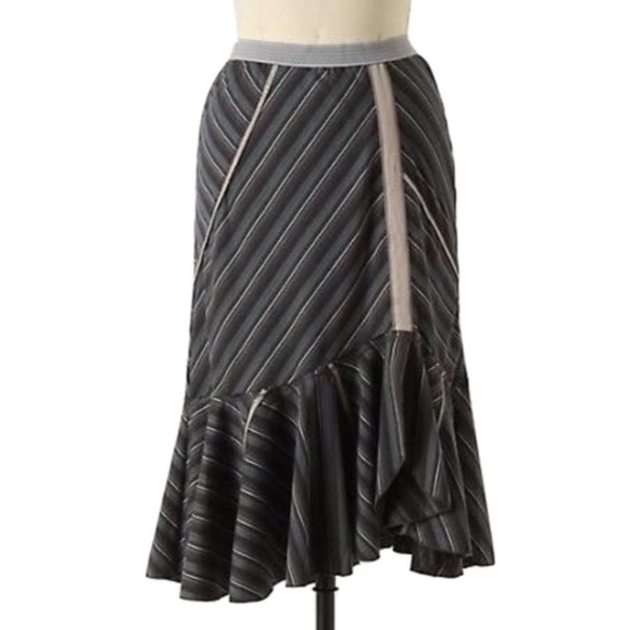 Anthropologie Dresses & Skirts - Tiny Angled Ruse Asymmertrical Ruffle Midi Skirt M